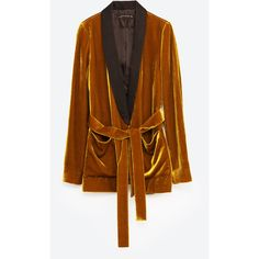 VELVET JACKET WITH BELT - BLAZERS-WOMAN | ZARA United States ($94) ❤ liked on Polyvore featuring outerwear, jackets, brown jacket, blazer jacket, velvet blazer, velvet jacket and brown velvet blazer