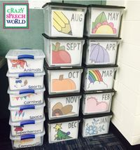Organizing Materials for the Year! Great idea for organizing your resources for the month or theme. Organizing Materials for the Year! Great idea for organizing your resources for the month or theme. Classroom Organisation, Teacher Organization, Teacher Hacks, Classroom Management, Classroom Ideas, Toddler Classroom, Seasonal Classrooms, Teacher Memes, Speech Therapy Organization