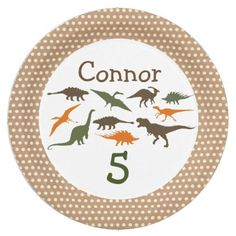 Dinosaur Plate Personalized Paper Plate - home gifts ideas decor special unique custom individual customized individualized
