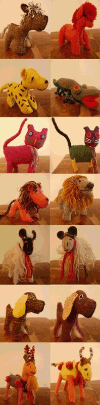 Handmade fabric animal toys from Chiapas, Mexico