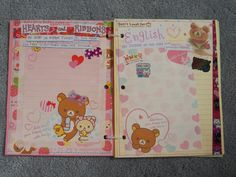 page 2 is hearts and/or ribbons and page 3 is any words in english Kawaii Stickers, Slammed, Flakes, Booklet, Ribbons, Fun, Handmade, Hearts, English