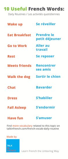 French Vocabulary: What exactly did you do today? Did you take a shower, go to work, meet friends, go home...? This vocabulary list will tell you how to say all that in French. More vocabulary available on this page http://www.talkinfrench.com/french-vocab-daily-routine/ Do not hesitate to share and repin.