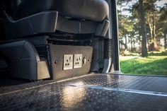 Mains and inverter power Vw Transporter Camper, Vw Vanagon, Car Camper, Mini Camper, Van Conversion Layout, Camper Van Conversion Diy, Campervan Interior, Campervan Ideas, Toyota Alphard