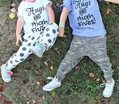 """""""Hugs and High Fives"""" T-shirt. Hand screen printed in Black on American Apparel White or Tri Blend Heather Grey T-shirt. This super soft unisex tee. Zara Baby, Baby Leggings, High Five, Future Goals, Hugs, American Apparel, Heather Grey, Graphic Tees, King"""