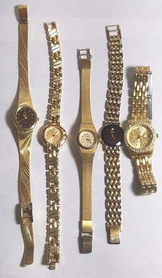 b2c4a14d1e56 Multi Brand Vintage Ladies Watch Lot 2 Citizen 2 Waltham 1 Wittnauer Gold  Toned