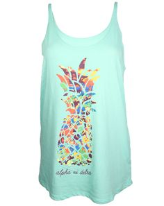 Alpha Xi Delta Pineapple Tank by Adam Block Design | Custom Greek Apparel & Sorority Clothes | www.adamblockdesign.com