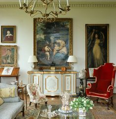 A hand painted and gilded credenza by designer Thomas Messel in the drawing room ~ Thomas Messel design