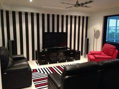 Black and White striped wallpaper gave Bec and George's room on The Block Sky High a sophisticated and contemporary look that won them this weeks room reveal. Striped Vinyl Wallpaper, Black And White Wallpaper, Striped Walls, White Walls, Home Design Decor, Interior Design, Home Decor, Grey Room, Bedroom Inspo