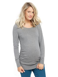 a27ef4551b467 Motherhood Maternity Long Sleeve Side Ruched Maternity Sweater Stylish  Maternity, Maternity Tops, Maternity Fashion