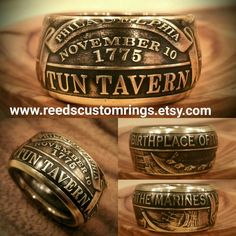 US Marine Corps Tun Tavern Ring - Hand Forged USMC Ring only @ www.reedscustomrings.etsy.com #USMC #USMCVET #USMARINECORPS #USMARINES #MARINES #MARINEWIFE #SEMPERFI #SEMPERFIDELIS #veteran #military #patriotic #teamlove #coinring #edcgear #edc #usarmy Marine Corps Rings, Us Marine Corps, Usmc Ring, Marine Corps Uniforms, Bullet Casing Crafts, My Marine, Coin Ring, Semper Fi, Coin Jewelry