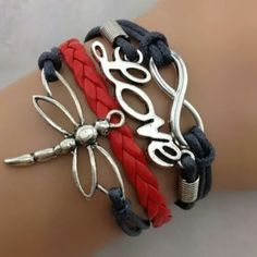 Black & Red Leather Bracelet Infinity Love Dragonfly Leather Charm Bracelet Jewelry Bracelets