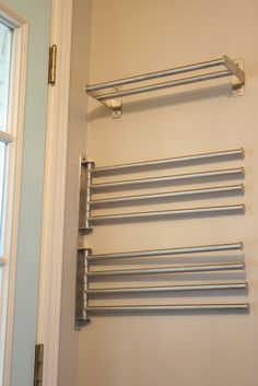 For laundry closet - Ikea towel bars for drying clothes in the laundry room. Laundry Room Remodel, Laundry Closet, Laundry Room Organization, Laundry Storage, Organization Ideas, Storage Ideas, Storage Solutions, Storage Shelves, Bathroom Storage