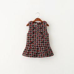 Babies Girls Wool Blend Hound Tooth Grid Party Dresses Double Breast Sleeveless Wool Blend Western Dresses Candy Color Fall Winter Dress From Smartmart, $61.66 | Dhgate.Com