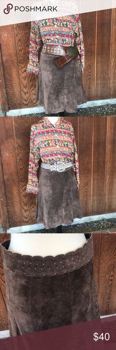 """Luscious Vintage Suede Skirt Yummy , soft velvet like suede slight trumpet skirt. Great punched detail at waist. Belts and blouse in separate listings.  Waist; 16"""" , can sit low on hips.  Length: 24"""" Vintage Skirts Midi"""