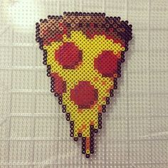 Pizza slice perler beads by Jake Tastic Melty Bead Patterns, Pearler Bead Patterns, Perler Patterns, Beading Patterns, Kandi Patterns, Hama Beads Design, Diy Perler Beads, Perler Bead Art, Pixel Art