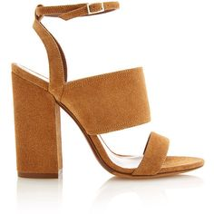 Tabitha Simmons Stevie Camel Sandal found on Polyvore featuring shoes, sandals, heels, tabitha simmons sandals, thick heel shoes, tabitha simmons, ankle tie sandals and chunky heel shoes