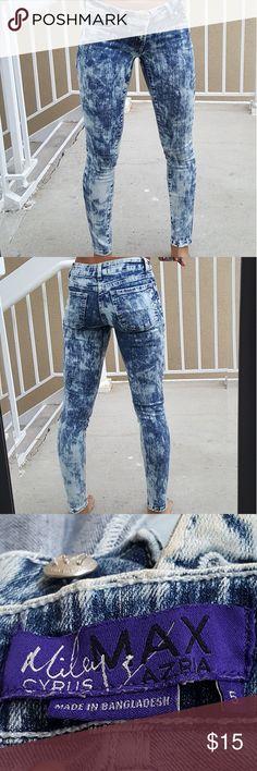 "Miley Cyrus Max Azaria Super Skinny Jeans Miley Cyrus Max Azaria Super Skinny Acid Wash Jeans  **Great Condition**      **Size 5Jr** Waist 12.5"" Outseam 36.5"" Inseam 29.5"" Hips 14.5"" Miley Cyrus Max Azaria  Jeans Skinny"