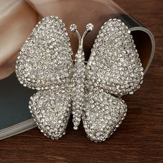 Wedding Bridal Butterfly Pendant Pin Brooch Clear Austrian Crystal Insect