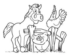 Farm Animals Big Strong Coloring Pages For Kids Printable