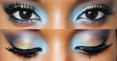 Blue, gold, and purple eyeshadow blended seamlessly in this beautiful eye makeup look