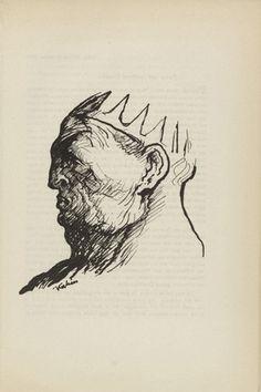 Alfred Kubin. Untitled (Caesar's Head) (plate, [p. 75]) from the periodical  Zeit-Echo. Ein Kriegs-Tagebuch der Künstler, vol. 1, no. 6 (Jan 1915). 1915