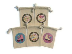 Roller Skating Party Favors Set of 10 Muslin 4x6 Gift Bags