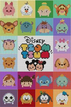 Over in the Two Hearts Crochet CALs group someone has asked about tsum tsum . - Over in the Two Hearts Crochet CALs group someone has asked about tsum tsum graphs. Disney Cross Stitch Patterns, Cross Stitch Charts, Cross Stitch Designs, Cross Stitch Embroidery, Disney Cross Stitches, Beaded Cross Stitch, Melty Bead Patterns, Pearler Bead Patterns, Perler Patterns
