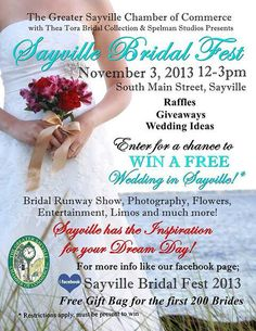 Sayville Bridal Fest November 3rd. Win  a free wedding!!! View my new website for updates go to the service page. WWW.RoseannaAmador.com