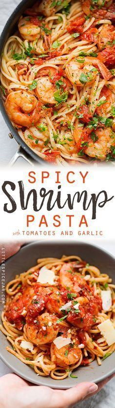 Spicy Shrimp Pasta with Tomatoes and Garlic A simple pasta dinner with tons of fresh summery tomatoes and lots of garlic June 2016 Made this tonight and it is great ta. Spicy Shrimp Pasta, Seafood Pasta, Shrimp Dishes, Shrimp Pasta Recipes, Fish Recipes, Pasta Dishes, Seafood Recipes, Cooking Recipes, Lasagna