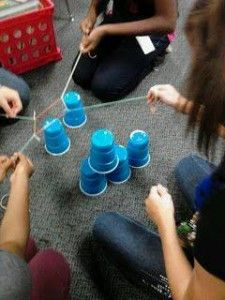 Cup Challenge - groups work together to stack cups in a pyramid using string and a rubber band. (Team Building activity for first day of school)Collaboration Activity (good for mentor time) from: In the middle: Life as a seventh grade language arts teache Youth Games, Games For Kids, Team Games, Indoor Youth Group Games, Kids Team Building Games, Classroom Team Building Activities, Youth Group Events, Team Bonding Activities, Student Games