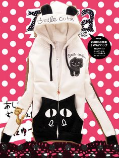 Black Kitty <3 :) Free Shipping Good Quality 2013 Women Cute Cat Design Hoodie Letter Print Fleece Thick Outwear Coat Women $19.98