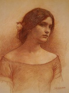 Study for The Lady Clare. By John William Waterhouse (1849-1977).