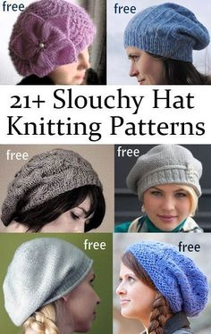 Hats for Women: Free Slouchy Hat Knitting Patterns Loom Knitting, Knitting Patterns Free, Knit Patterns, Free Knitting, Stitch Patterns, Knit Or Crochet, Crochet Hats, Crochet Granny, Knitting Pullover