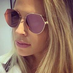 Womens 'Queen Bee' Flat Lens Circle Wire Browline Sunglasses Astroshadez