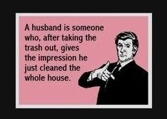Hahha ... I'd like to say in my house it is the opposite. He's doing dishes as I pinterest the night away.