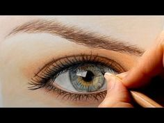 Tutorial, How to draw color a realistic eye and eyebrow with colored pencils, Emmy Kalia Colored Pencil Tutorial, Colored Pencil Techniques, Pencil Drawing Tutorials, Pencil Drawings, Eye Drawings, Pencil Sketching, Youtube Drawing, Realistic Eye Drawing, Drawing Eyes