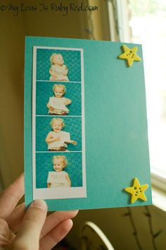 Who wouldn't love this great handmade thank you card with your own little cutie holding the thank you notes!