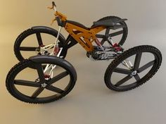 H4 Bicycle - I designed and built this 4 wheel bicycle with Solidworks 2007, and rendered it using 3D Studio Max Vray.