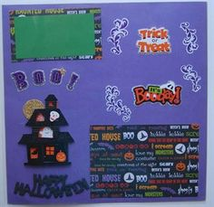 Handmade Traditional Scrapbook Page Layout Happy Halloween.  www.icanscrap4u.com