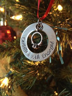 BACK ORDERED - Engagement  Ring Engaged Couple Christmas Ornament Custom Hand Stamped CH007 on Etsy, $11.52