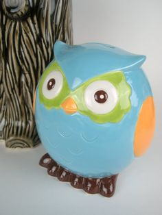 Ceramic Piggy Bank Custom Owl Coin  Turquoise Green And Orange