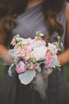 Charcoal gray dress with snapdragon, lamb's ear and rose #bouquet.   Photography: The Schultzes - lovetheschultzes.com