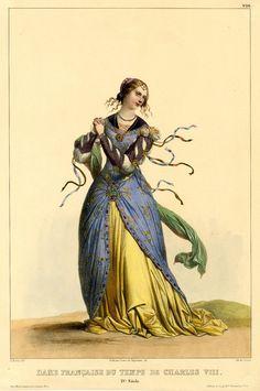 Dame française du temps de Charles VIII DescriptionPlate 36; woman wearing costume of 15th century France. 1831-1839 Hand-coloured lithograph with gum arabic