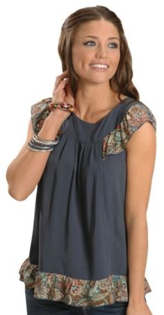 Wrangler Ruffled Paisley Print Cap Sleeve Top available at #Sheplers