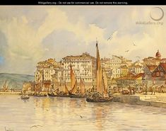 Angelos Giallina GREEK) , Grand houses near the old port, Corfu Greece Painting, Strait Of Malacca, Corfu Island, Old Port, Grand Homes, Greek Art, Greek Islands, Favorite Holiday, Old Things