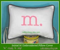 Monogram ReSale - Letter Pillow Cover - Initial It - Lumbar 12 x 16 Ready To Ship. $20.00, via Etsy.