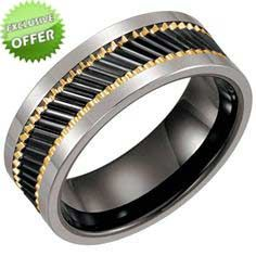 Security Jewelers Ceramic /& Tungsten 8.3mm Band with Gold Immerse Plating Size 10 Ring Size 10