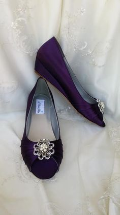 Wedding Shoes Purple Eggplant Wedge Bridal Wedges With Pearl And Crystal Flower Brooch
