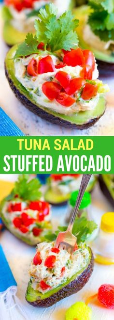 Low Unwanted Fat Cooking For Weightloss Delicious Tuna Salad Stuffed Avocado. A Scrumptious Meal Or Hearty Appetizer. This Stuffed Avocado Recipe Will Become One Of Your All-Time Favorites Fall Dinner Recipes, Potluck Recipes, Fall Recipes, Gourmet Recipes, Breakfast Recipes, Cooking Recipes, Summer Recipes, Easter Recipes, Drink Recipes
