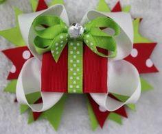 "Girls Boutique Christmas Hair Bow Sale Handmade 4 5"" Present"